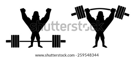 Sportsman lifting heavy barbell. Athlete standing with raised hands. Raster clip art contour lines illustration isolated on white - stock photo