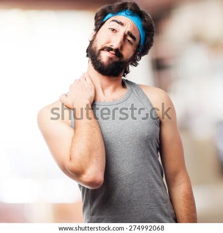 sportsman neck pain - stock photo
