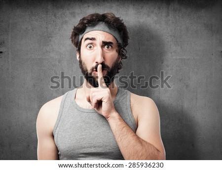 sportsman silence sign - stock photo