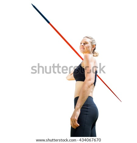 Sportswoman holding a javelin on a white background