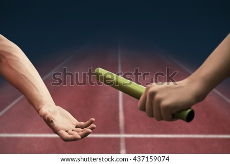 Sportswoman running on a white background against digital image of an athletic track - stock photo