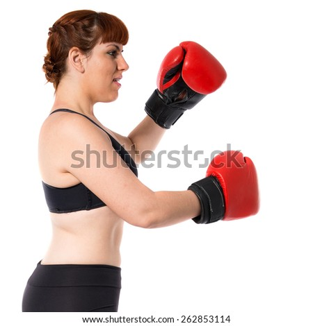 Sportwoman with boxing gloves