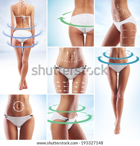Sporty and beautiful female body with the arrows (healthy eating, vitamins and nutrition collection) - stock photo