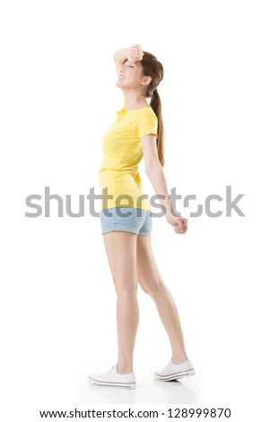 Sporty Asian girl feel relaxed and free, full length portrait isolated on white background. - stock photo