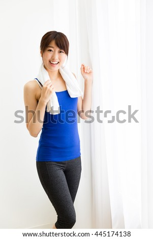 sporty asian woman exrcise image
