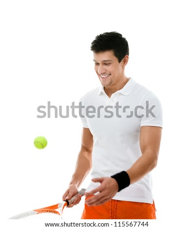 Sporty athlete playing tennis, isolated on white - stock photo