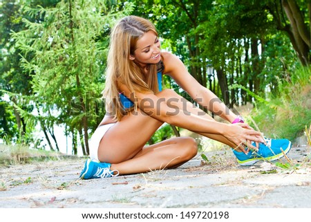 sporty beautiful and attractive woman do fitness exercise - stock photo