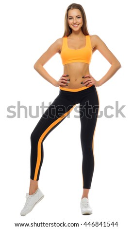 Sporty girl isolated on white - stock photo