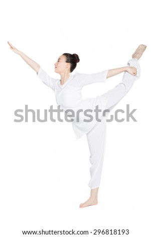 sporty girl on white background doing back bend asana for stretching neck
