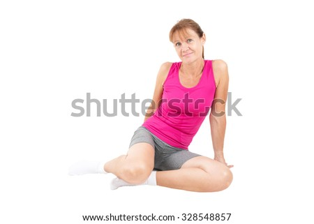 Sporty, handsome woman sitting