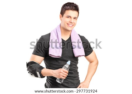 Sporty man holding a water bottle after exercise isolated on white background - stock photo