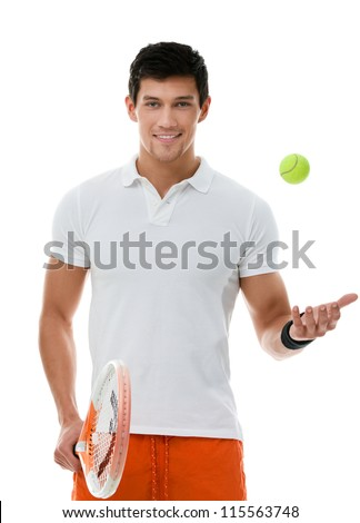 Sporty man playing tennis, isolated on white - stock photo