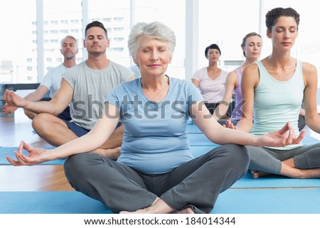 Sporty people in lotus pose with eyes closed at a bright fitness studio - stock photo