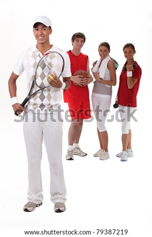 Sporty people on white background - stock photo