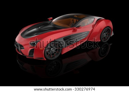 sporty red car on a black background