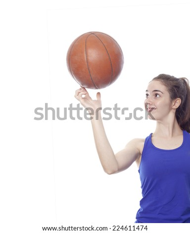 sporty teenager girl with balloon basketball