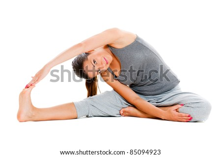 sporty woman in grey sportswear training. isolated on white - stock photo