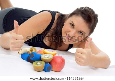 sporty woman with fresh fruits / healthy living - stock photo