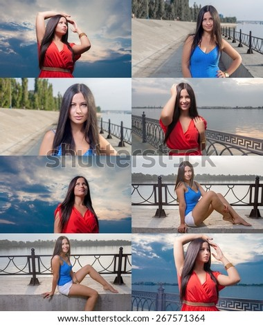 Sporty women posing near fense of embankment. Adorable brunette on a dawn against sky . Fashion Beauty. Outdoors shot. Big set of the outdoor lifestile images. - stock photo