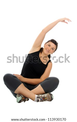 sporty young woman doing gymnastics / sporty woman - stock photo