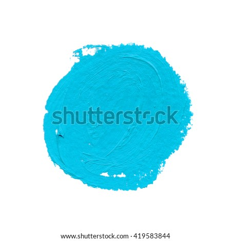 spot and daub of light blue paint insulated on white paper. circle. hand drawn  with real materials - stock photo