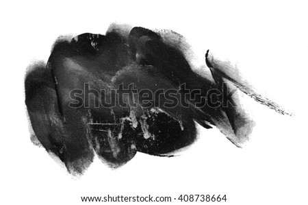 spot black white watercolor ink - stock photo