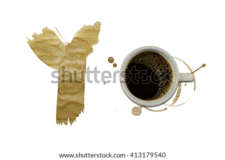 Spot from cup coffee on white paper / Coffee Stains Set / coffee paint stains - stock photo