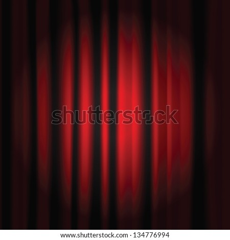Spot light on a red curtain stage - stock photo
