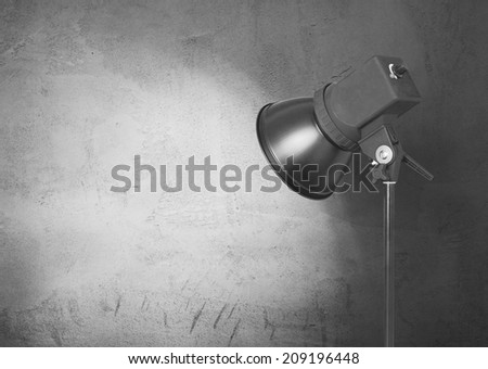 spot light on concrete wall, urban gray background  - stock photo