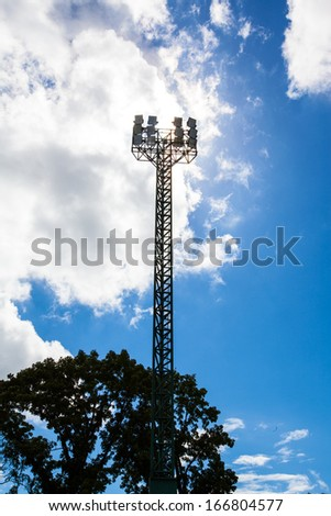 Spot-light tower for sport game with beautiful blue sky
