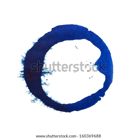 spot of blue ink on a white background - stock photo