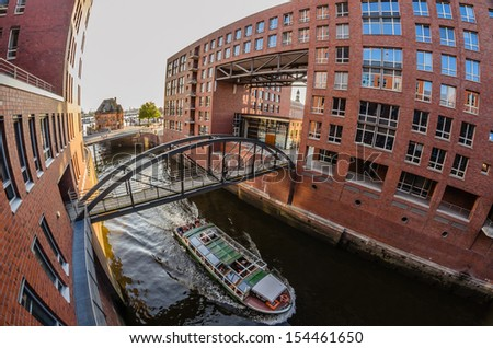 Spot of the Speicherstadt in Hamburg viewed with the fisheye perspective - stock photo
