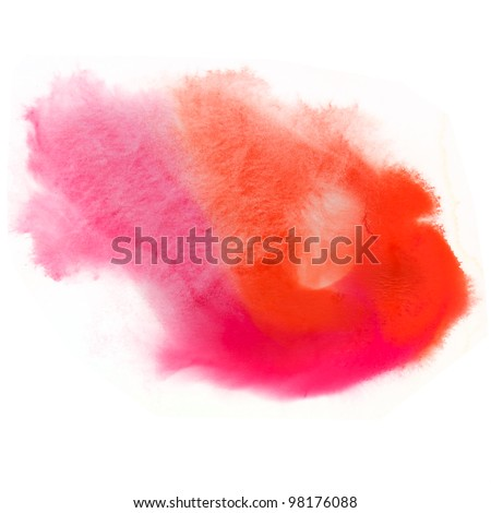 spot texture watercolor orange splash ink red pink watercolour macro blotch texture isolated white background - stock photo