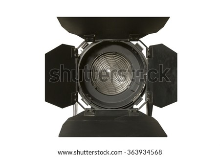 Spotlight fixture used in film and theater productions  isolated on white background - stock photo