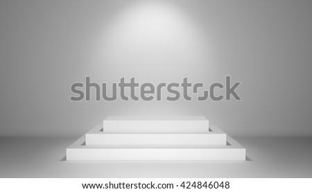 Spotlight illuminate exhibition podium with steps. 3D rendering - stock photo