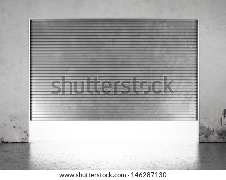 Spotlight illuminate of  roller shutter door - stock photo