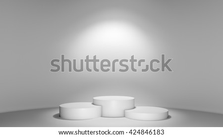 Spotlight illuminate podium with steps in exhibition studio room. 3D rendering
