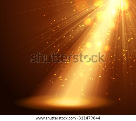 Spotlight on stage with bokeh and star - stock photo