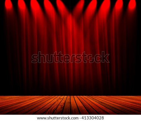 spotlight on stage with curtain background - stock photo