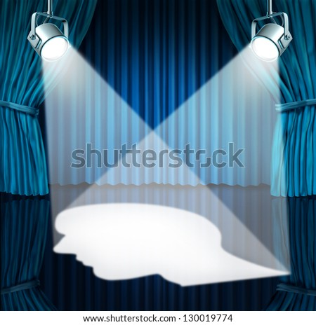 Spotlight on the brain with lights shinning a human head shaped profile on a stage with blue velvet curtains  as a mental health concept for cognitive disorders as autism or Asperger's syndrome - stock photo