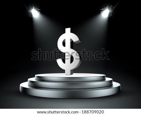 Spotlight on the dollar - stock photo