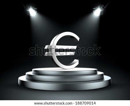 Spotlight on the euro - stock photo