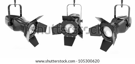Spotlight or stage light on white isolated background. 3d - stock photo