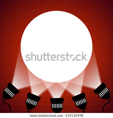 Spotlight projecting to blank wall. Raster version. - stock photo