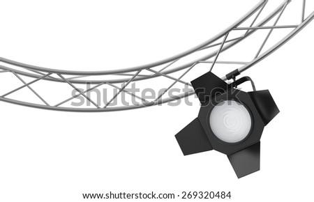 Spotlights hanging on a metal frame. 3d render - stock photo
