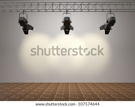 Spotlights illuminated wall. Space for text. 3d - stock photo