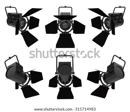 Spotlights isolated on a white background; front and back