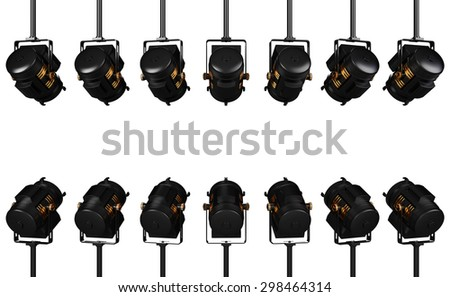 Spotlights isolated on White Background - stock photo