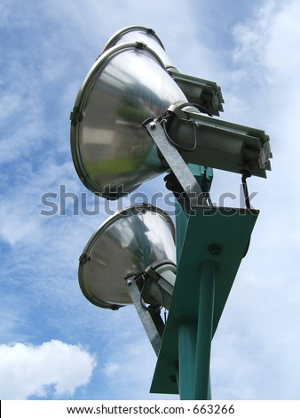 Spotlights with sky background