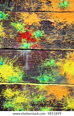 Spots of a paint on old boards - stock photo